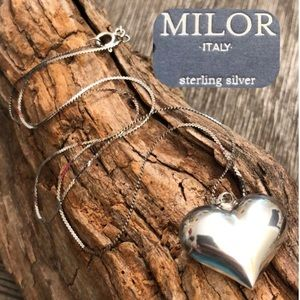 Vintage Milor Sterling Silver Chain & Puffy Heart